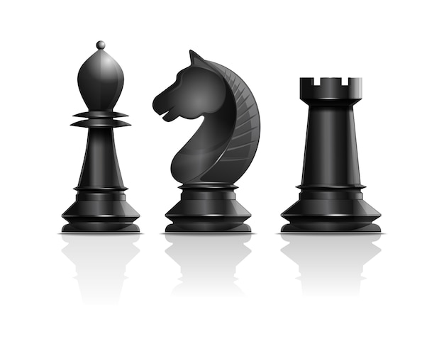 Black chess pieces bishop, knight, rook. set of chess pieces. chess concept design. realistic illustration isolated on white background Premium Vector