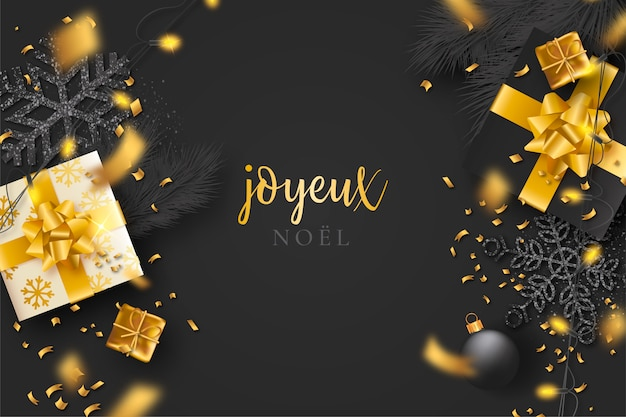 Black christmas background with confetti and golden presents Free Vector