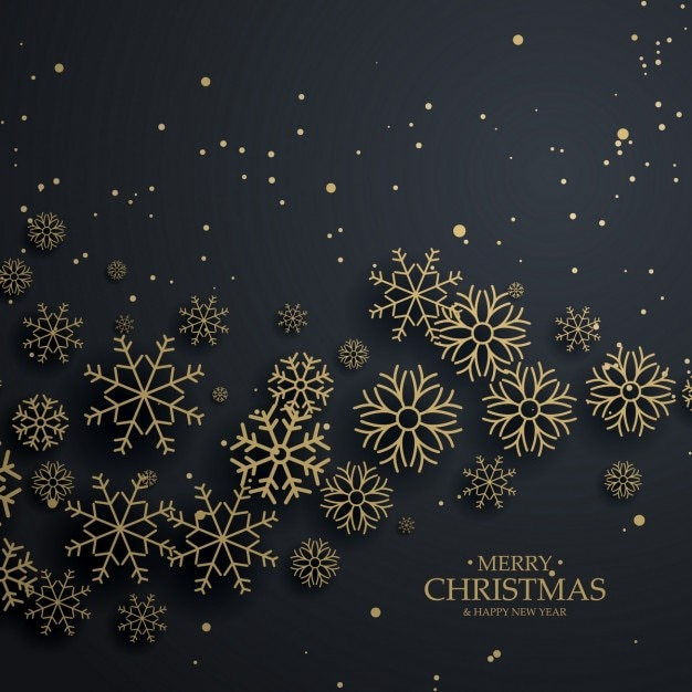 black christmas background with golden snowflakes vector free download