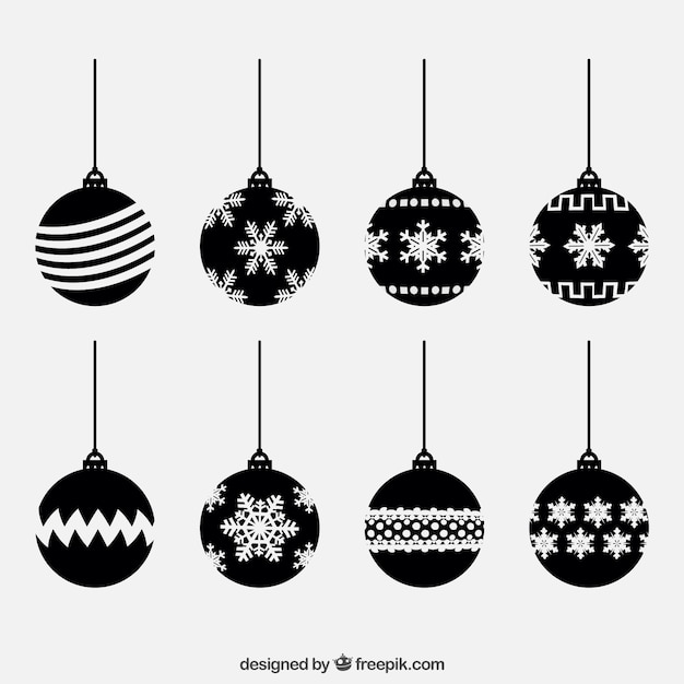 Black Christmas Balls Collection Vector | Free Download