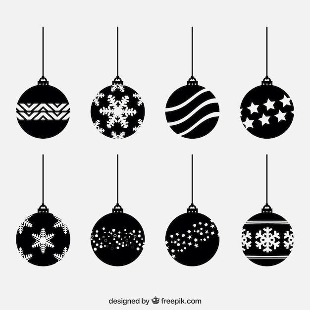Black Christmas Balls Set Vector | Free Download