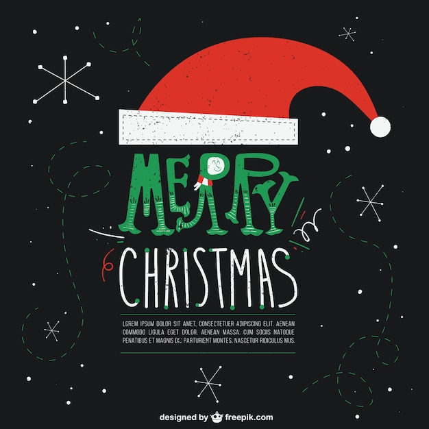 black christmas card with santa clauss hat free vector