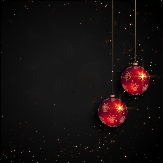Black christmas festival card with realistic ball Free Vector