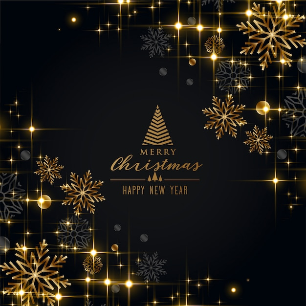 Black christmas festival greeting with golden snowflakes Free Vector