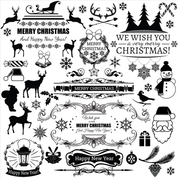 black christmas labels free vector