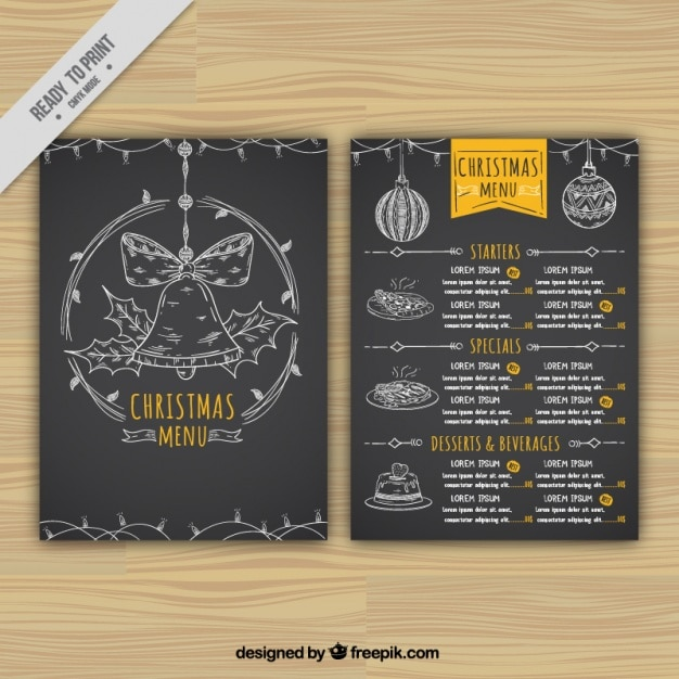 Black christmas menu with hand drawn elements Free Vector