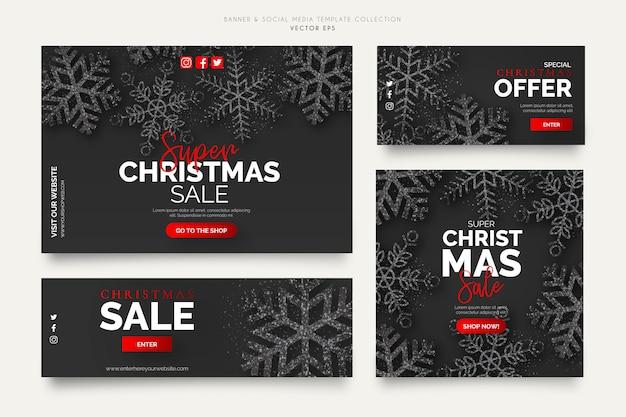 Black christmas sale banner templates Free Vector