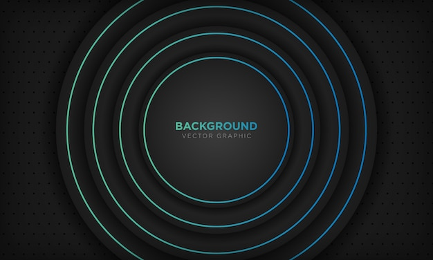Black circle abstract background with blue line decoration. modern technology concept. Premium Vector