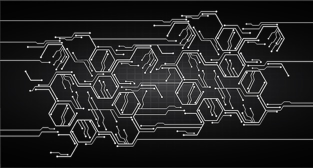 black circuit cyber security concept background vector