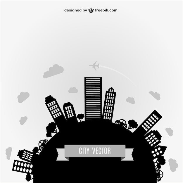 Black city silhouette Free Vector