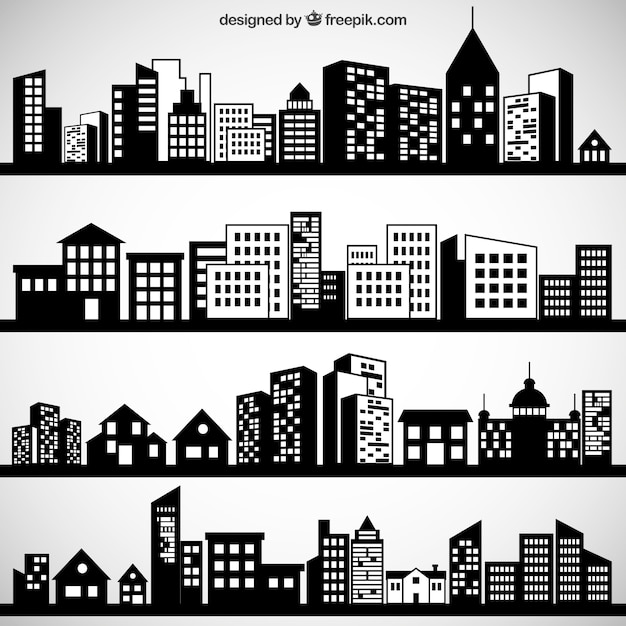 Black city skylines  Free Vector