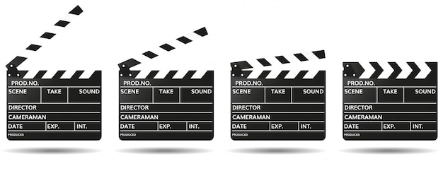 Black clapperboard with empty fields for movie name open and closed. shooting movies Premium Vector