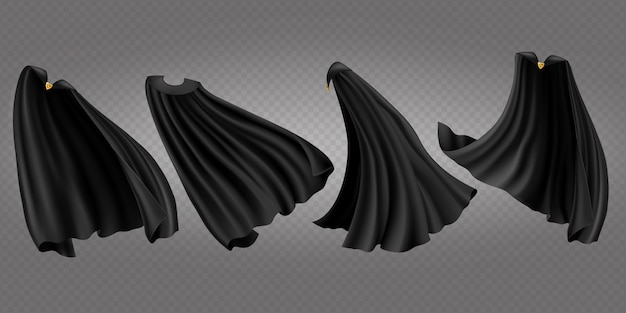 Black cloaks, capes side, back and front view set Free Vector