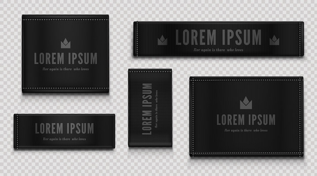 Black cloth labels for premium apparel, brand tags Free Vector