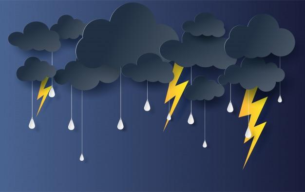 Black cloud and lightning rainy season background. Premium Vector