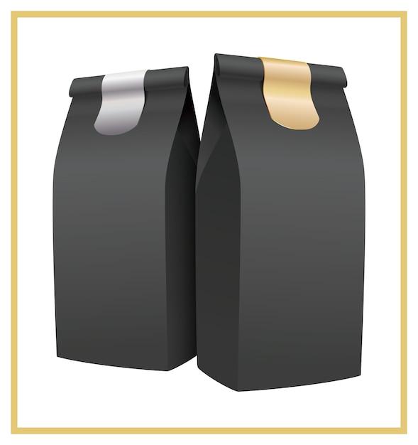 Black coffee packaging Premium Vector