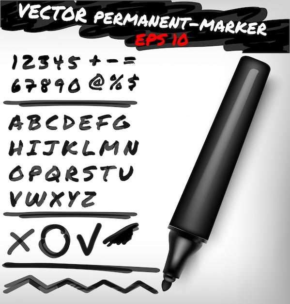Открытая перманентная ручка черного цвета, набор рукописных цифр, цифры, знак и алфавит, плюс, линия. иллюстрация фломастером Premium векторы
