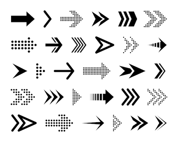 Black conceptual arrows. various black icons. cursor. Premium Vector