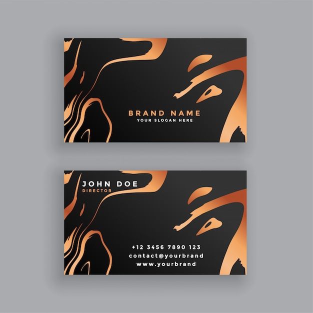 Black and copper business card design Free Vector