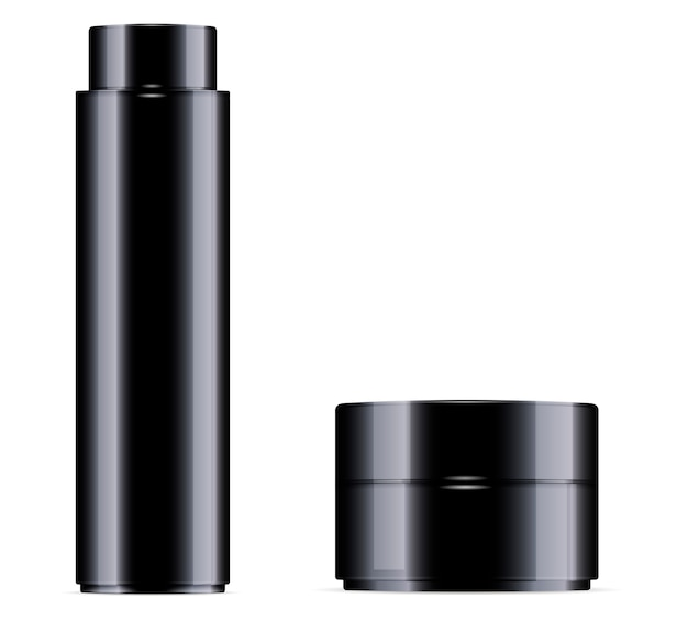 Black cosmetic bottle for toner Premium Vector
