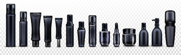 Black cosmetic bottles, jars and tubes for cream, spray, lotion and beauty products Free Vector