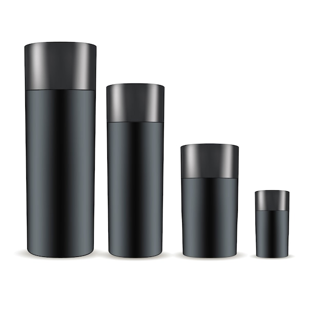 Black cosmetic bottles set. cosmetics Premium Vector