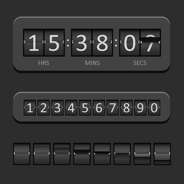 黒のカウントダウンボードとタイマーのベクトル図 無料ベクター