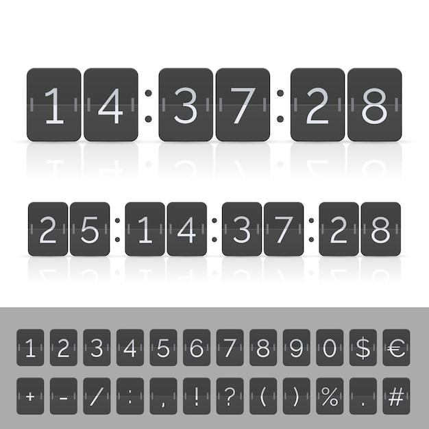 黒のカウントダウンタイマーとスコアボード番号。 Premiumベクター