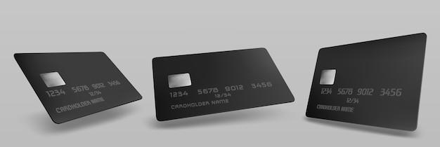 Черный макет кредитной карты, изолированный пустой шаблон с чипом на сером Бесплатные векторы