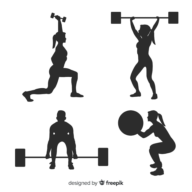 Black crossfit training silhouette collection Free Vector