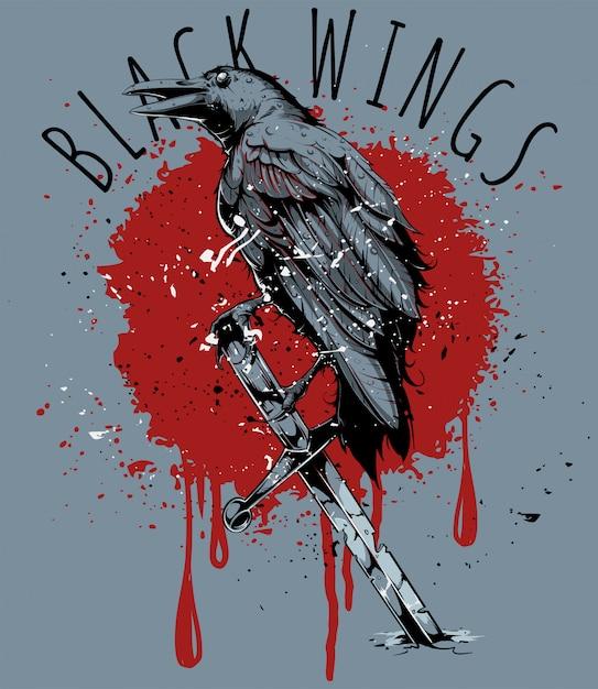 Black crow Premium Vector