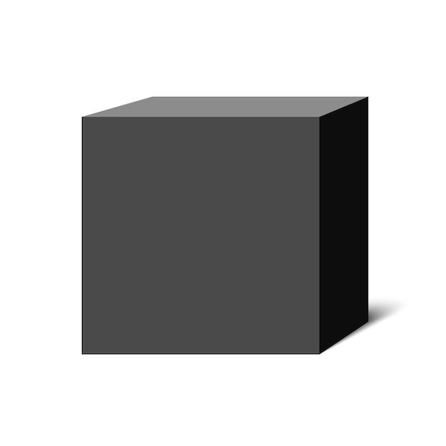 Черный куб. квадратная коробка. иллюстрации. Premium векторы