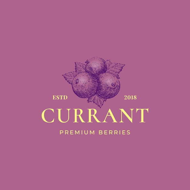 Black currant abstract  sign, symbol or logo template. Free Vector