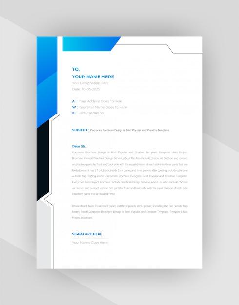 ブラック&シアン抽象的なレターヘッドテンプレートデザイン。 無料ベクター