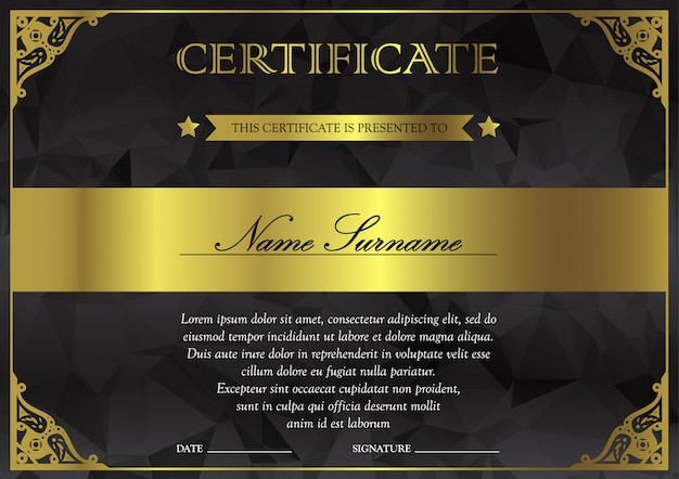 Black dark and gold certificate and diploma template Premium Vector