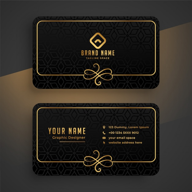 Black dark and golden business card template Free Vector