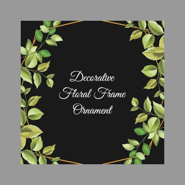 花と葉の飾りと黒の装飾的なフレーム Premiumベクター