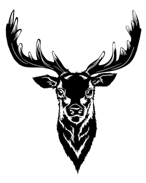 Black deer head Free Vector