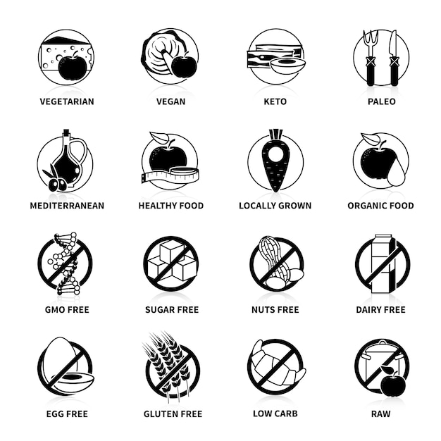 Black diets pictogram set  with comments   isolated vector illustration Premium Vector