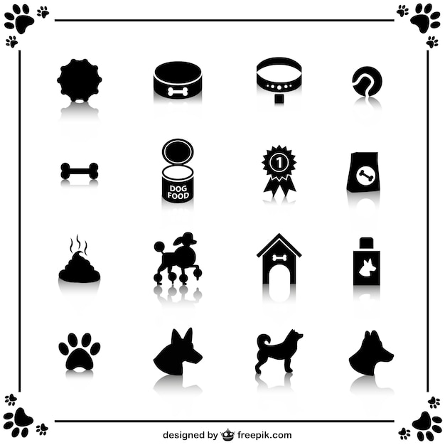 Black dogs icons Free Vector