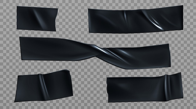 Black duct tape pieces, insulating stripes set Free Vector