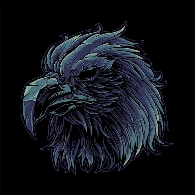 검은 독수리 머리 프리미엄 벡터