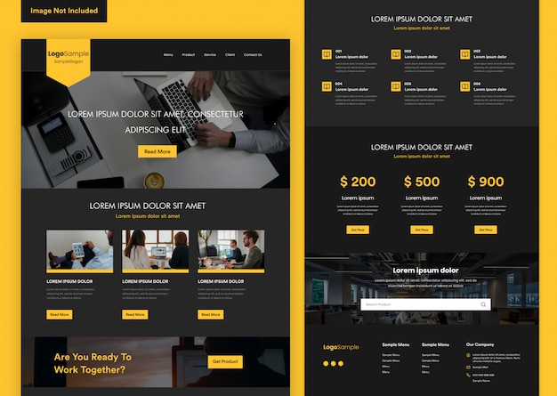Black elegant website design template for business development Premium Vector
