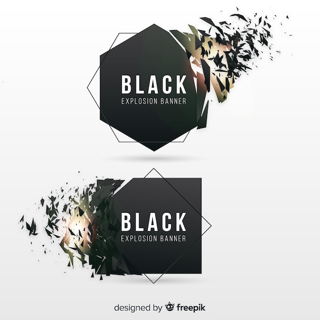 Black explosion banner Free Vector