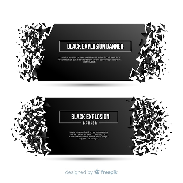 Black explosion banner Free Vector