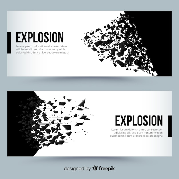 Black explosion banners Free Vector