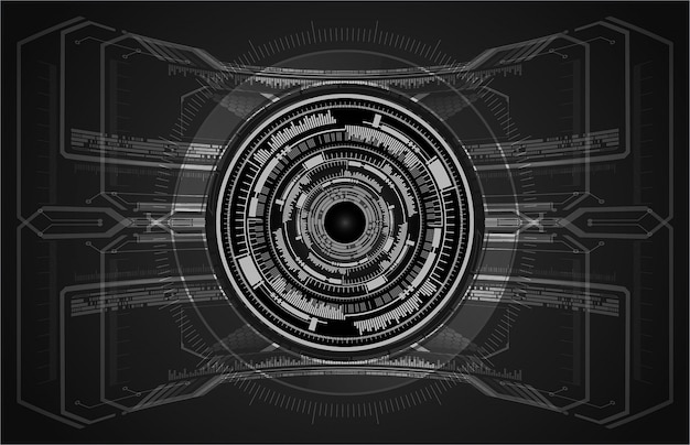 Black eye cyber circuit future technology concept background Premium Vector