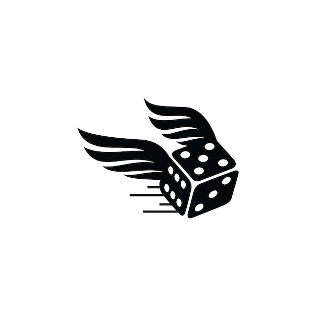 Black fast dice logo Premium Vector