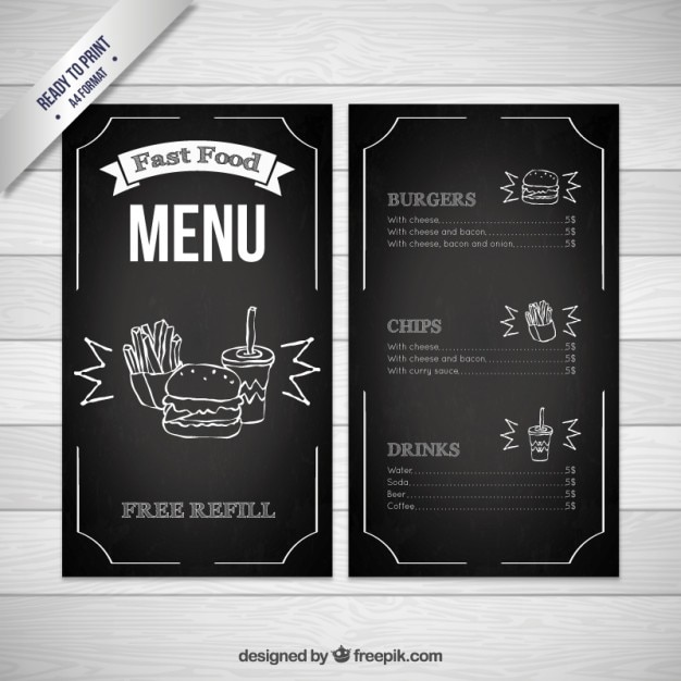 black fast food menu template free vector