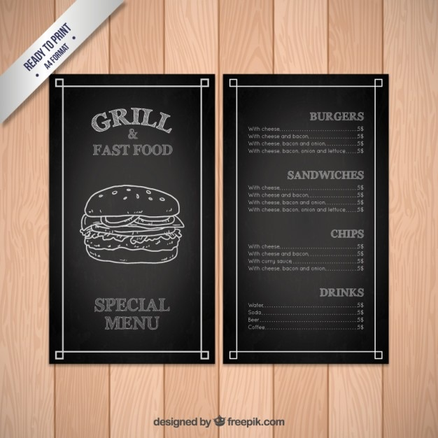 Black Fast Food Menu